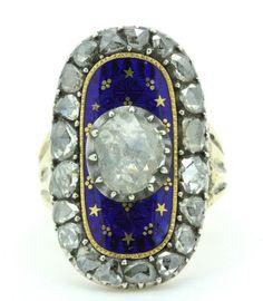 A Stunning Georgian 6ct Rose Cut Diamond & Blue Enamel Ring Circa 1790's  7,000 british pounds, sniff!