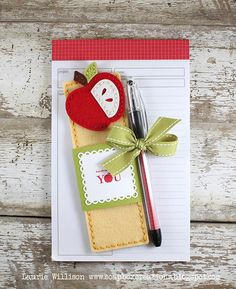 Apple For Teacher Gift Ensemble by Laurie Willison for Papertrey Ink (September Teachers Day Gifts, Teacher Birthday Gifts, Teacher Gifts, Teacher Appreciation Cards, Teacher Cards, Apple School, Fall Paper Crafts, Pen Toppers, Envelopes
