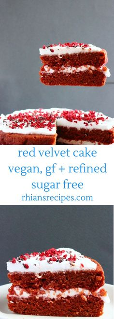 This Gluten-Free Vegan Red Velvet Cake is so much healthier than the traditional version, but every bit as delicious. Naturally coloured, refined sugar free and filled with a delicious coconut 'cream cheese' frosting. Gluten Free Cakes, Gluten Free Baking, Vegan Baking, Vegan Gluten Free, Sugar Free Cakes, Vegan Treats, Vegan Foods, Vegan Snacks, Vegan Red Velvet Cake