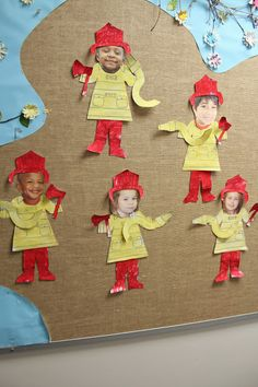 October is Fire Safety Month! We made ourselves into mini fire fighters. A lesson on fire safety, the colors yellow and red, following directions, and fine motor control