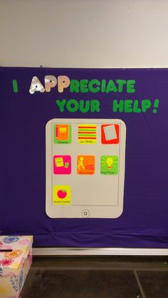 DIY iPad classroom helpers board. Create different 'apps' for classroom jobs. Use a dry erase poster board to write the names under each job for each week!