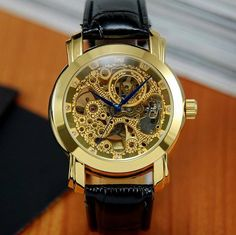 Luxury Gold Plated Dial Automatic Mechanical Mens Watch | ODONATUM - Accessories on ArtFire