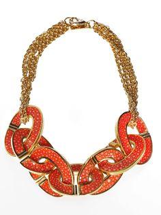 Item of the Day (6.14.12) Robyn Brooks' stingray orange link necklace.