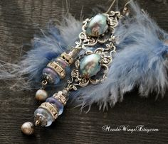 Marie-Antoinette very long unique earrings, assembled jewelry, antique French beads, silver; Pearls, blue Versailles style, movie star by MoodsWingz on Etsy