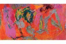 "Gary Wragg - Twists Through Orange, 1999–2000 Oil on Canvas 81"" x 144"" (206 x 366 cm)"