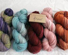 {Manos del Uruguay Fino in Birdcage, Watered Silk, Boudoir, Havisham + Pocketwatch} shared on behomemade.com