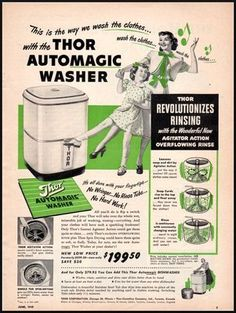 vintage mothers day ads | Thor Automagic Washer Vintage Ad Womans Day 1949 (100311) used, new ...