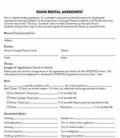 Printable Sample Simple Room Rental Agreement Form | Real Estate ...