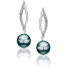 Tahitian pearl and diamond earrings by Reena Ahluwalia.