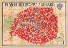 vintage map of paris poster by cavallini