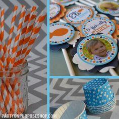 Goldfish Birthday Party Decorations Orange Blue Fully Assembled