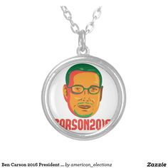 Ben Carson 2016 President Republican Retro Round Pendant Necklace. Illustration showing neurosurgeon, conservative figure and Republican 2016 presidential candidate Ben Carson done in retro style with words Carson 2016. #Carson2016 #republican #americanelections #elections #vote2016 #election2016