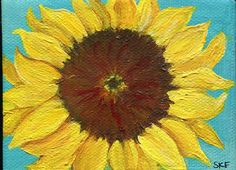 Sunflower painting on Canvas original on by SharonFosterArt, $23.00