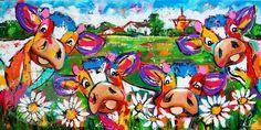 Vrolijk Schilderij, dieren, abstract, schilderij,