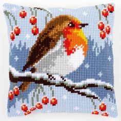 Red Robin in Winter - Cross-stitch cushion - Vervaco