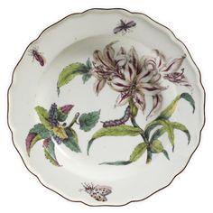 A CHELSEA PORCELAIN 'HANS SLOANE' BOTANICAL SOUP PLATE CIRCA 1755