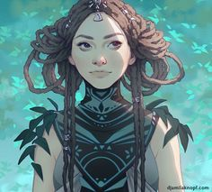 Digital art, tribal girl, braided hair, princess, warrior