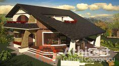 Casa cu etaj 54 | Proiecte de case personalizate | Arhitect Gabriel Georgescu & Echipa Landscape Architecture Design, Architectural Design House Plans, Burlington House, Modern House Facades, Luxury House Plans, Facade House, Home Design Plans, Design Case, Building Plans