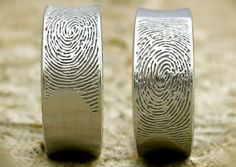 a part of your beloved spouse wherever you go with the fingerprint wedding band. Forged of beautiful white gold, this unique wedding band comes engraved. Custom Wedding Rings, Unique Wedding Bands, Wedding Jewelry, Fingerprint Wedding Bands, Fingerprint Ring, Wedding Band Tattoo, Fashion Rings, In This World, Rings For Men