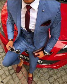 Light blue / gray suit for men .- Light blue / gray suit for men blue menswear - Light Blue Grey Suit, Blue Suit Men, Blue Suits, Suits 5, Blue Mens Suit Wedding, Light Blue Suit Wedding, Fitted Suits, Best Suits For Men, Cool Suits