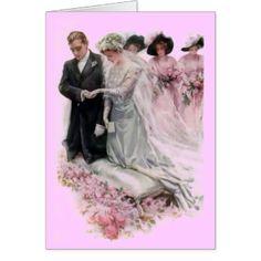 Casal do casamento vintage cartão comemorativo