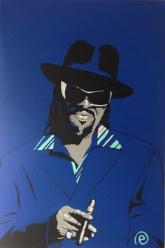 Godfather of GoGo, Chuck Brown painting in acrylic on 24x36 stretched canvas. www.eharrisart.com
