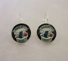 Charlotte Hornets Earrings made from Basketball Trading Cards Upcycled Gameday…