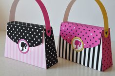 Barbie inspira monedero Favor caja rosa por GlitterInkDesigns