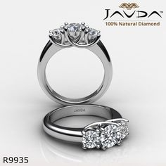 Trellis Classic Three Stone Round Diamond Engagement Ring 14k White Gold.