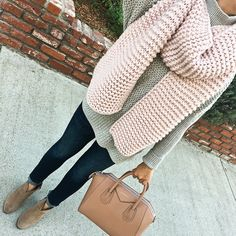blush pink chunky knit scarf, Givenchy small antigona purse, petite skinny ankle jeans, franell ankle booties, grey sweater, petite fashion, fall outfits, winter outfit, click the photo for outfit details!