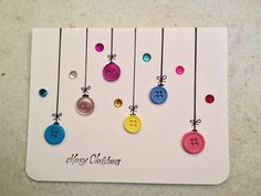 9 More Easy Homemade Christmas Cards with Step by Step Instructions – DIY Fan Button Christmas Cards, Christmas Buttons, Christmas Card Crafts, Button Cards, Homemade Christmas Cards, Christmas Cards To Make, Kids Christmas, Homemade Cards, Handmade Christmas