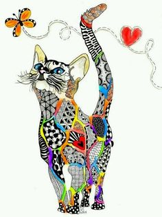"""Zentangle kitten named """"Rainbow Kitty"""" dedicated to all animals that have crossed the Rainbow Bridge. Photo Chat, Cat Quilt, Zentangle Patterns, Zentangles, Zentangle Animal, Zendoodle, Arte Pop, Rainbow Bridge, Cat Drawing"""