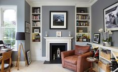 Crescent Road, Kingston upon Thames, Surrey - traditional - Home Office - London - Dyer Grimes Architecture Living Room With Fireplace, Cozy Living Rooms, Living Room Grey, Home And Living, Small Living, Living Room Ideas Modern Grey, White Fireplace, Fireplace Design, Interior Design Living Room