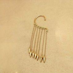 Punk Exaggerated Tassels Rivet Pandent Women's Earring, GOLD in Earrings   DressLily.com