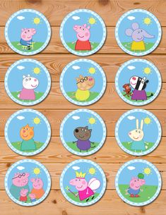 Peppa Pig Cupcake Toppers Blue Checkered * Peppa Pig Birthday * Peppa Pig