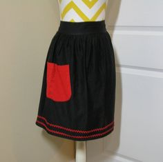 Vintage 1950s Black Kitchen Apron with Red Pocket and Double Row of Red Rick Rack, 22.25 Inches Long, Beautiful Black and Red Effect, Cotton by VictorianWardrobe on Etsy