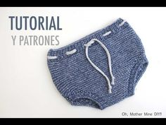 DIY Tutorial y patrones Cubre-pañales Baby Knitting Patterns, Knitting For Kids, Knitting Designs, Baby Outfits, Tricot Baby, Crochet Baby Bibs, Diaper Cover Pattern, Diy Bebe, Knitted Baby Clothes