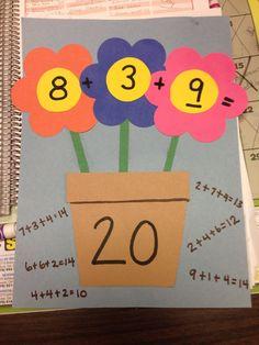 3 addend addition flower craft