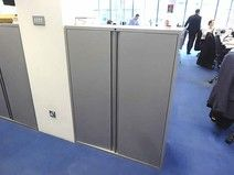 27 x Mid height dark grey double door metal storage cupboards - last chance to buy, therefore MAAAAD Price!