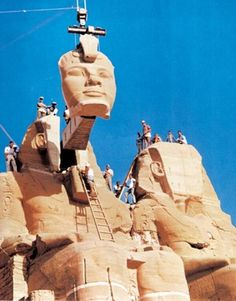 The relocation of a Abu Simbel temples in Nubia, Egypt, between 1964 and 1968