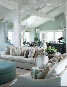 Chic Mint Green traditional style living room decor, mint decor, mint paint color white sofa with mint decorative pillows Mint Living Rooms, Coastal Living Rooms, Living Room Colors, Rugs In Living Room, Home And Living, Living Room Designs, Living Room Decor, Dining Room, Curtains Living