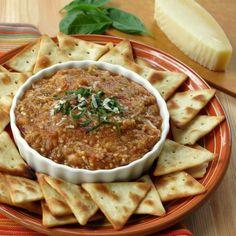Roasted Eggplant Parmesan Dip - easy recipe by Dinner-Mom.com #lowcarb #glutenfree #vegetarian