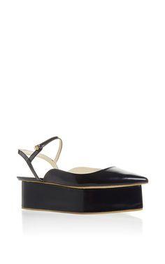 Dark Azurite Blue Wedge Shoe by DELPOZO for Preorder on Moda Operandi