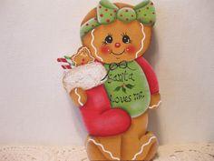 HP Gingerbread Christmas Santa loves me SHELF SITTER hand painted USA