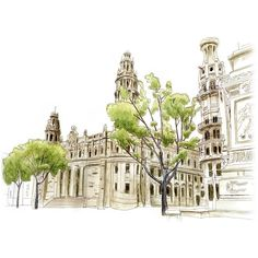 Barcelona Sketch Journal ❤ liked on Polyvore featuring decorations, draw and backgrounds