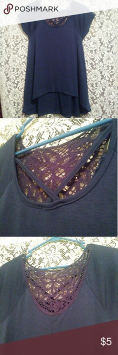 Dark Blue Top Dark blue. Crochet design in the back. Crisscross design in the front. Never worn. Almost Famous Tops Tunics