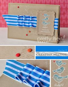 Pretty Heart, Papercraft by Jennifer Frost: For the Birds & Baby Cards - Creation Station Blog Hop #3