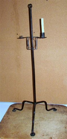 Very RARE 18th C Decorated Floor Standing Wrought Iron Adjustable Candle Holder   eBay sold  560.00