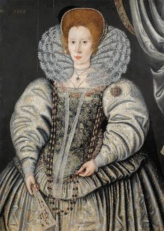 Circle of Marcus Gheeraerts the Younger (Bruges 1561-1635 London) Portrait of a lady, traditionally identified as Elizabeth Throckmorton, three-quarter-length, in a gold and white embroidered dress with a lace collar unframed