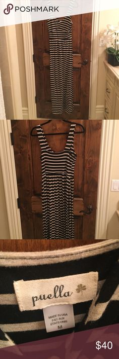"""Anthropologie stripped maxi- size medium Anthropologie maxi dress, navy and oatmeal stripes, small medium. The brand is called """"Puella"""". The dress is fitted in the top and fits a little looser in the body Anthropologie Dresses Maxi"""